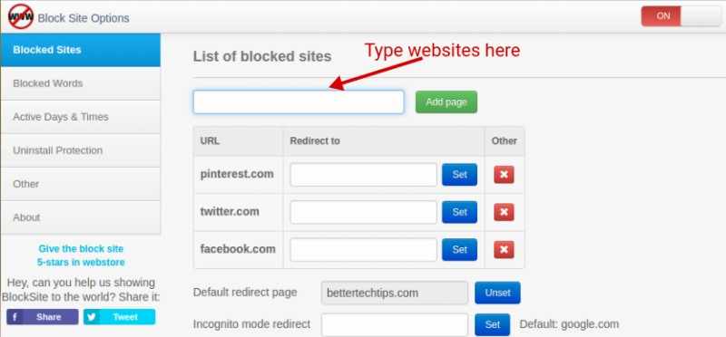 Add On Block Site Chrome