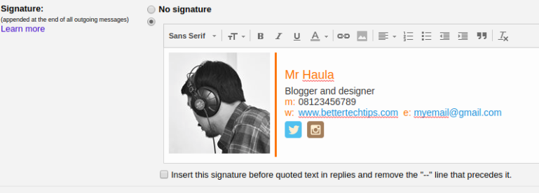 how to make a gmail email signature