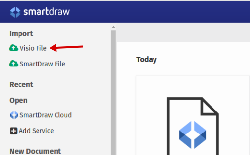 to open a vsdx file you can click the visio file menu at the top most of the side panel on the document manager of smartdraw - Open Visio Document Online