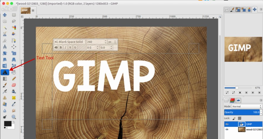 can you add text in gimp