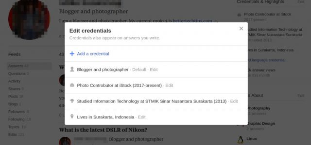 How to Edit Your Quora Credential