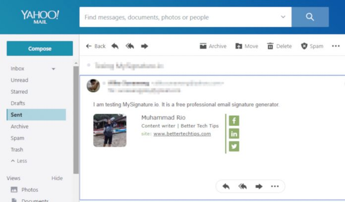 How to add linkedin to yahoo email signature