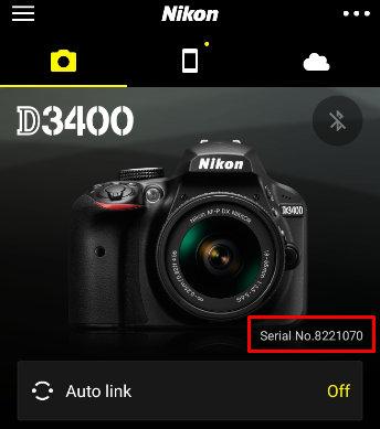 serial number on nikon d3400